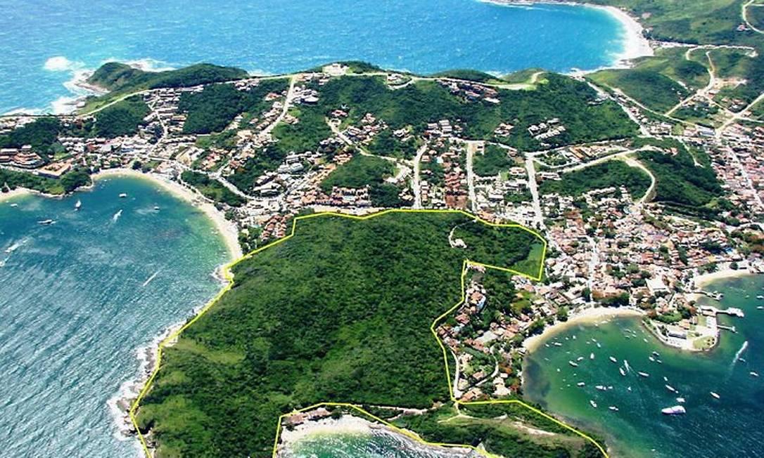 Área da Azeda Azedinha que entrará no Parque da Costa do Sol (Fotomontagem: Ernesto Galiotto Agência O Globo)