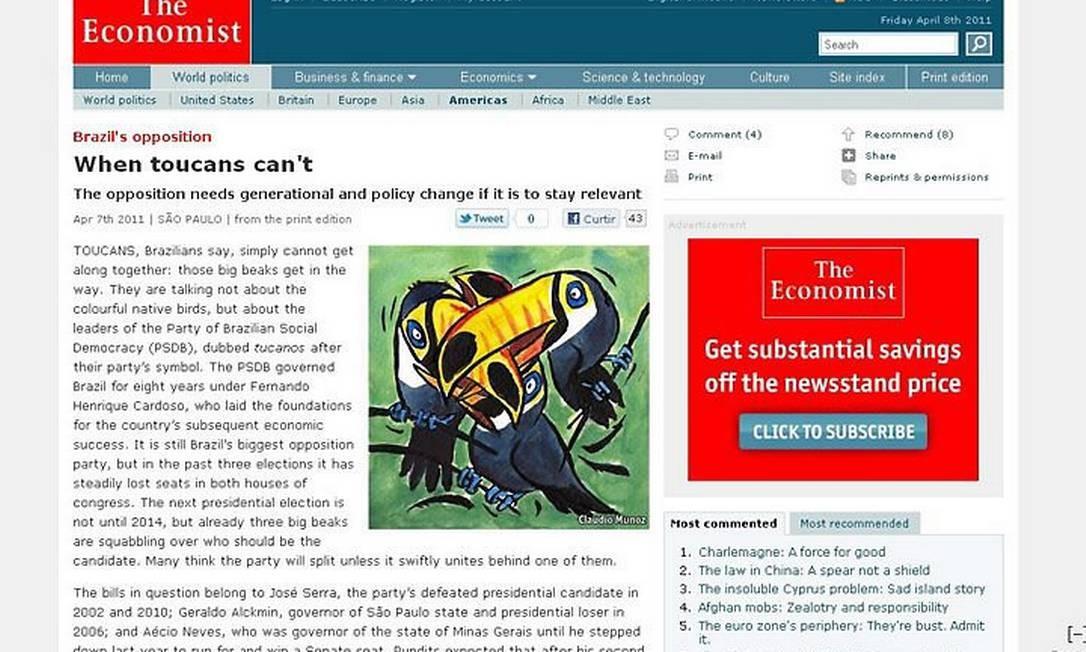 A revista 'The Economist' traz uma matéria sobre a oposição no Brasil - Reprodução