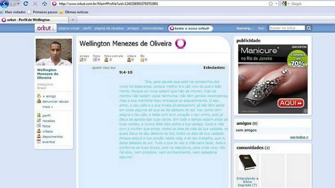 Suposto perfil de Wellington no Orkut - Foto: Reprodução