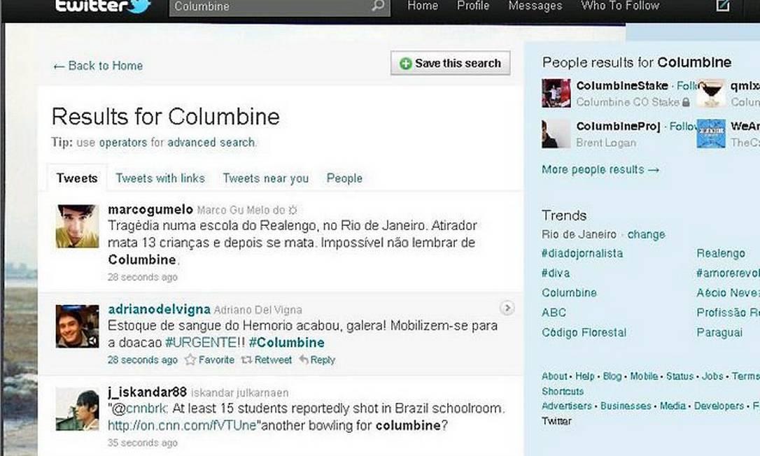 No Twitter, internautas comparam tragédia em Realengo com o massacre de Columbine