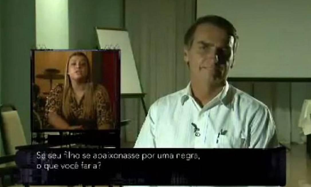 Jair Bolsonaro em entrevista ao CQC. Na reprodução, Preta Gil faz pergunta ao deputado