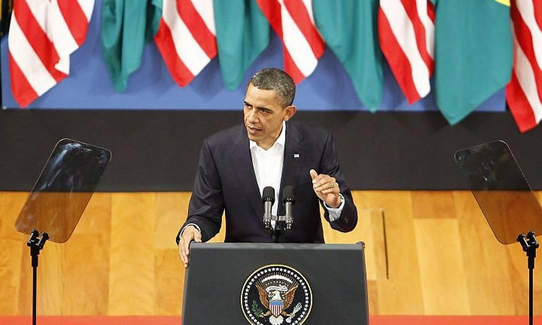 Presidente Barack Obama discursa no Theatro Municipal (Foto: Pablo Jacob Extra Agência O Globo)