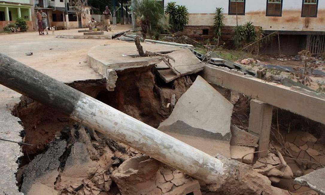 Destruição causada pelas chuvas em Nova Friburgo. Foto de arquivo de Gustavo Stephan