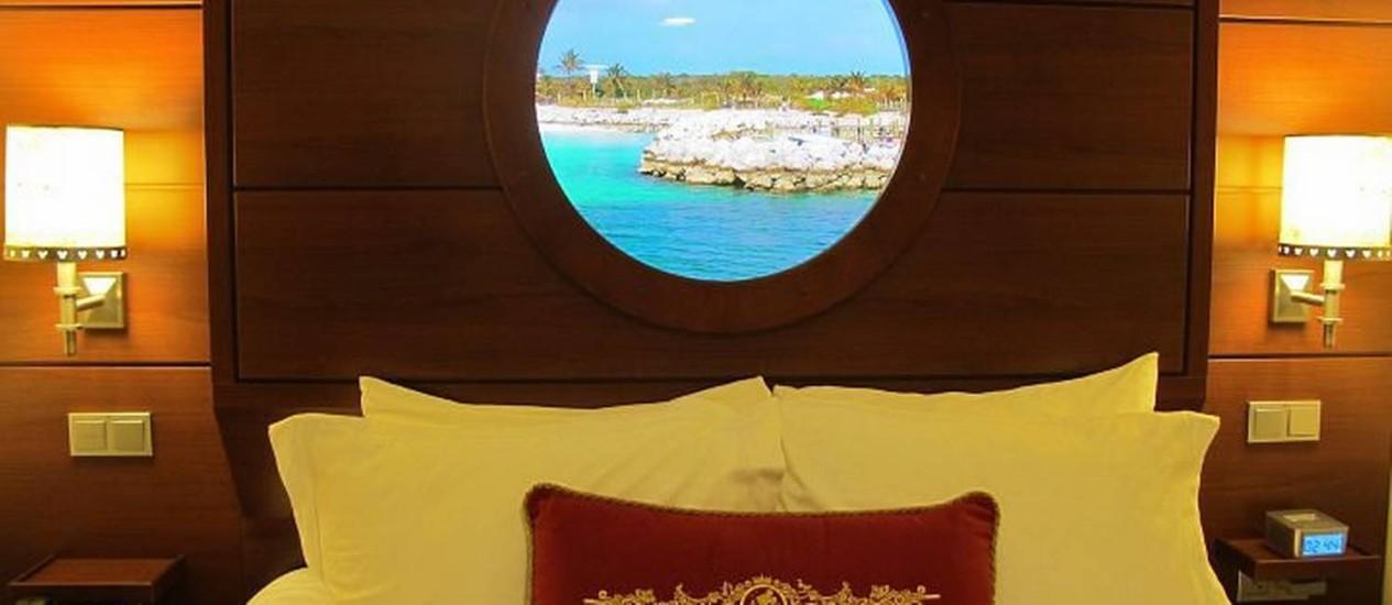 'Magical porthole': tela em forma de escotilha em uma das cabines internas do Disney Dream Foto: Cristina Massari