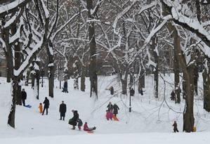 Crianças e adultos brincam com a neve no Central Park, em Nova York Foto: Fernanda Godoy