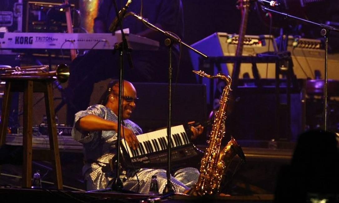 Show da cantor Stevie Wonder no palco Mundo da Cidade do Rock. Foto: Pablo Jacob