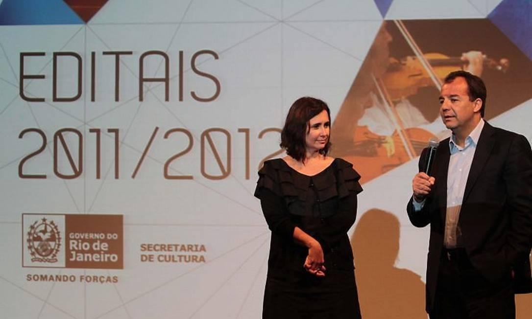 Adriana Rattes e Sérgio Cabral no anúncio do edital Foto Divulgação Carlos Magno
