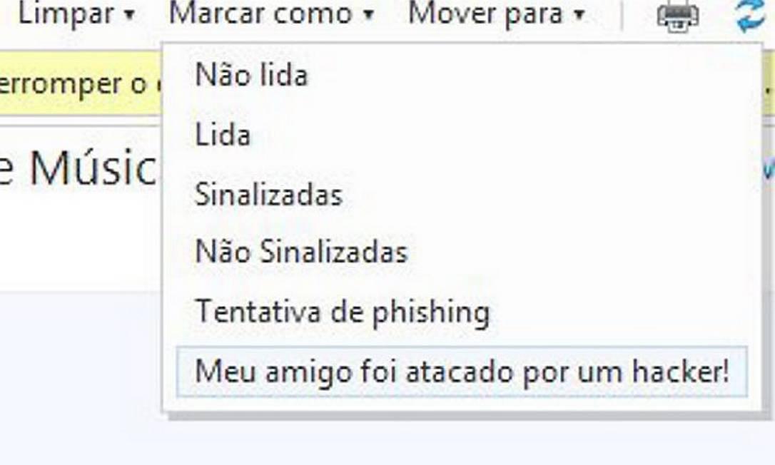 Hotmail cria novo sistema para denunciar contas de e-mail invadidas por hackers Foto: Reprodução