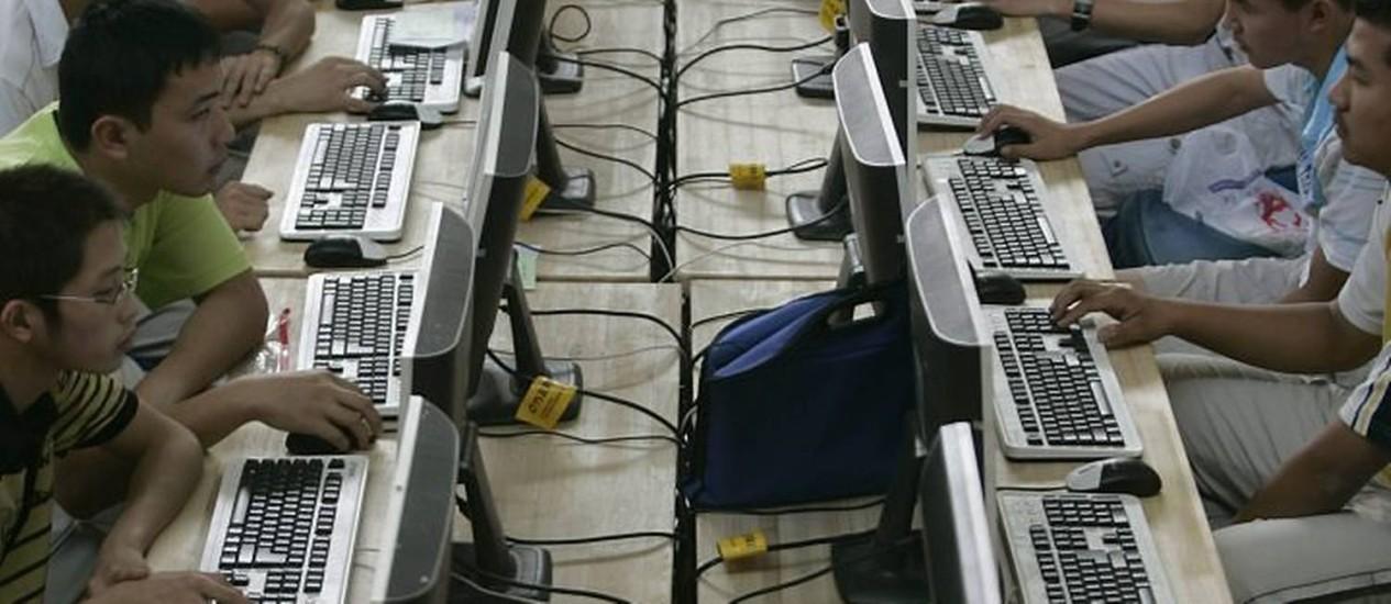 Cybercafé na China Crédito: Arquivo