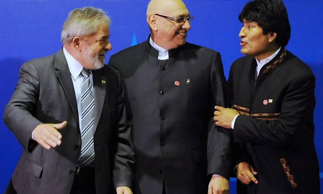 Os presidentes Luiz Inácio Lula da Silva, Fernando Lugo, do Paraguai, e Evo Morales, da Bolívia - AFP