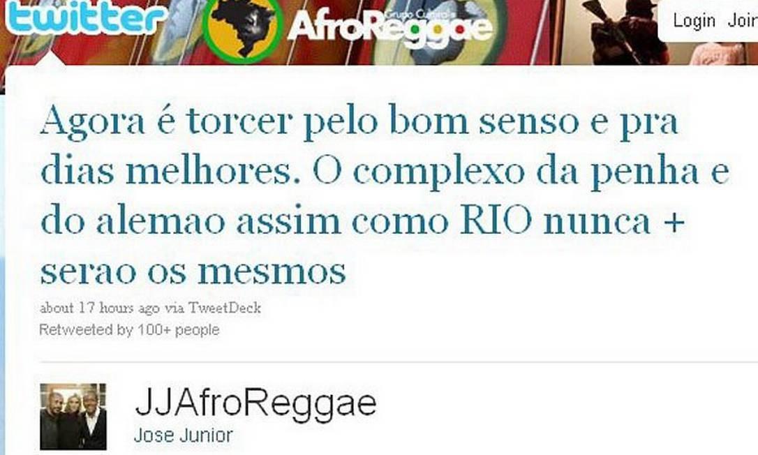 Reprodução de mensagem do Twitter de José Júnior, do Afroreggae Crédito: Reprodução da internet