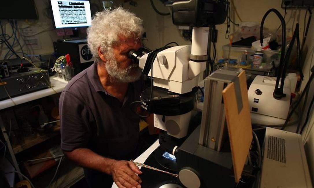 Eric Karsenti, diretor científico da expedição Tara Oceans, analisa amostras de plâncton a bordo do veleiro. Foto: Ana Branco