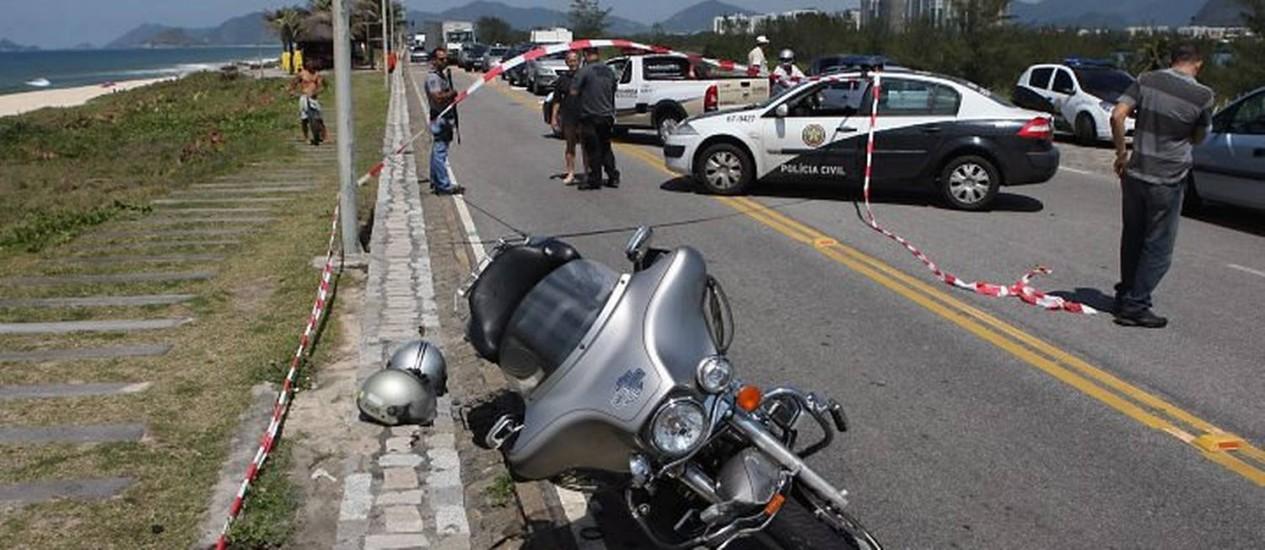 Moto do sargento bombeiro assassinado - Foto: Marcelo Carnaval - O Globo