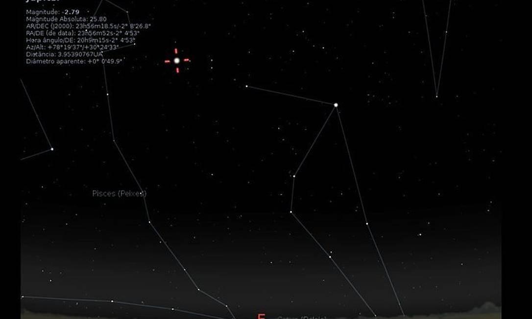 A posição de Júpiter no céu do Rio nesta segunda-feira, dia de maior aproximação do planeta da Terra em quase 50 anos