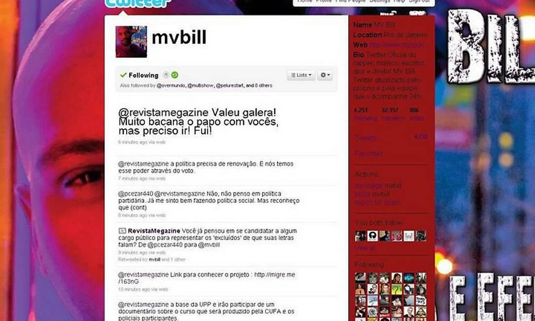 A página de MV Bill ao final da Twintrevista Reprodução