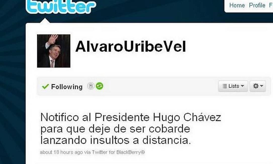 Página de Álvaro Uribe no Twitter