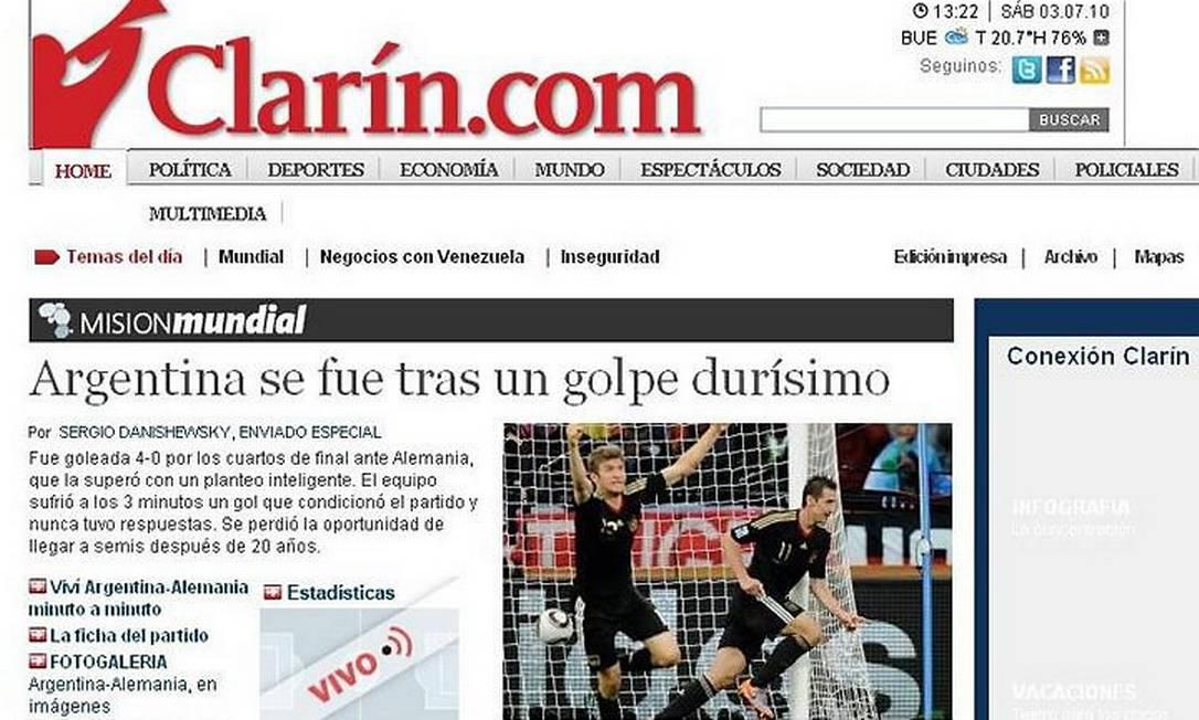 Capa do site do ''Clarín'' Reprodução