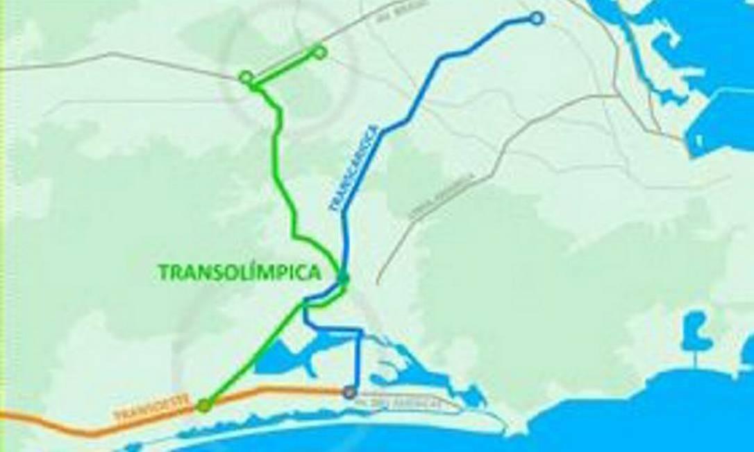 Em verde, o traçado da Transolímpica; em azul, a Transcarioca; e, em laranja, a Transoeste Reprodução