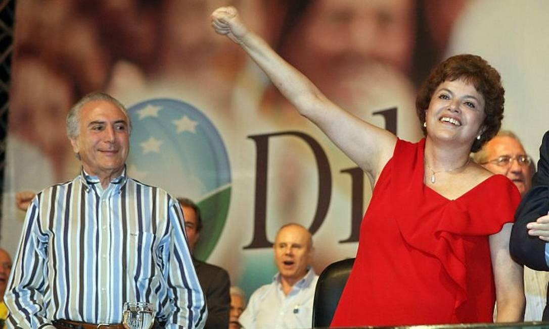 Temer ao lado de Dilma no Congresso Nacional do PT - Foto de arquivo de Givaldo Barbosa