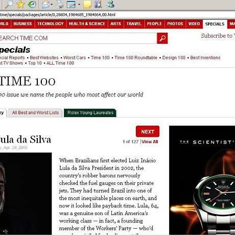 Lula é eleito o líder mais influente pela 'Time' - Reprodução