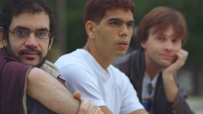 Renato Russo, Dado Villa-Lobos e Marcelo Bonfá, da Legião Urbana, em foto de 1994