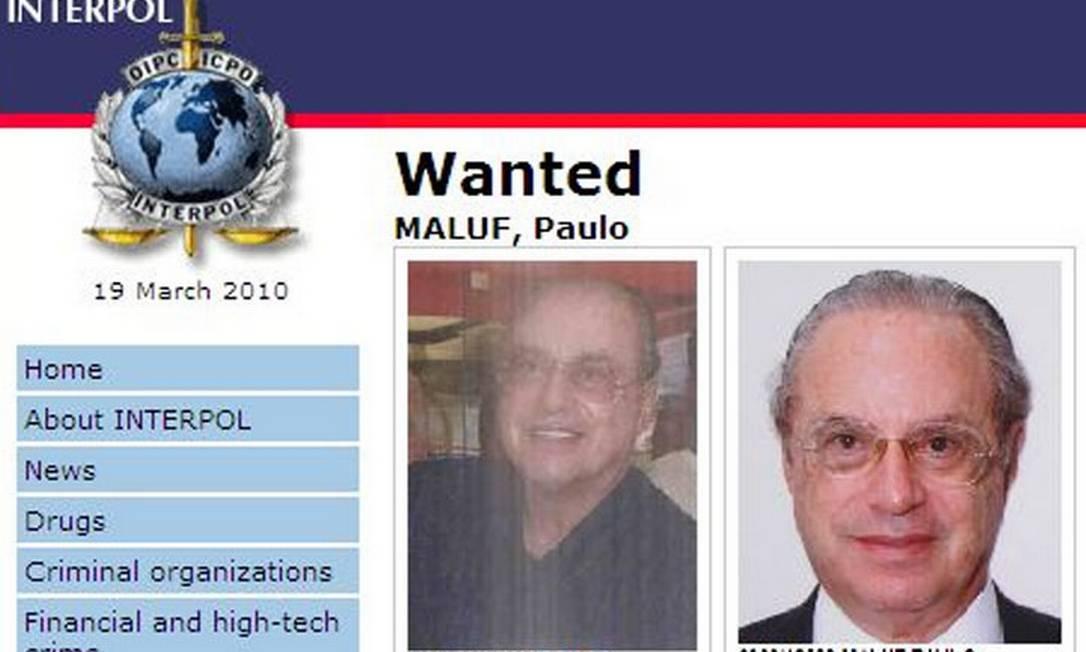 Maluf na lista de procurados da Interpol - Reprodução Internet