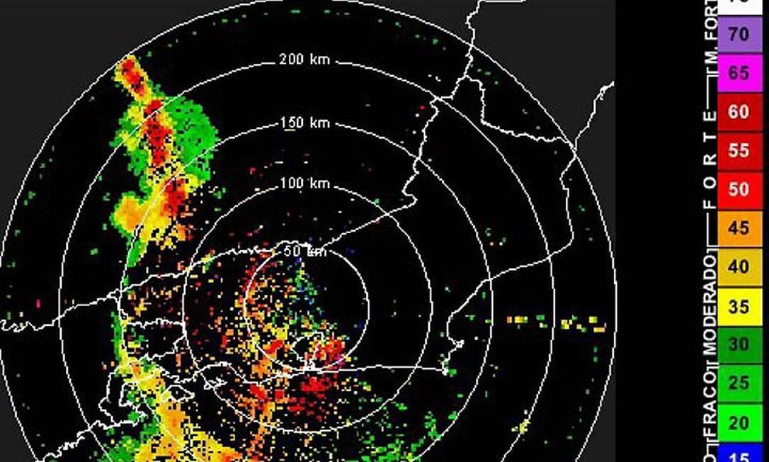 No mapa, em vermelho, os pontos do Estado do Rio mais atingidos pela chuva Reprodução