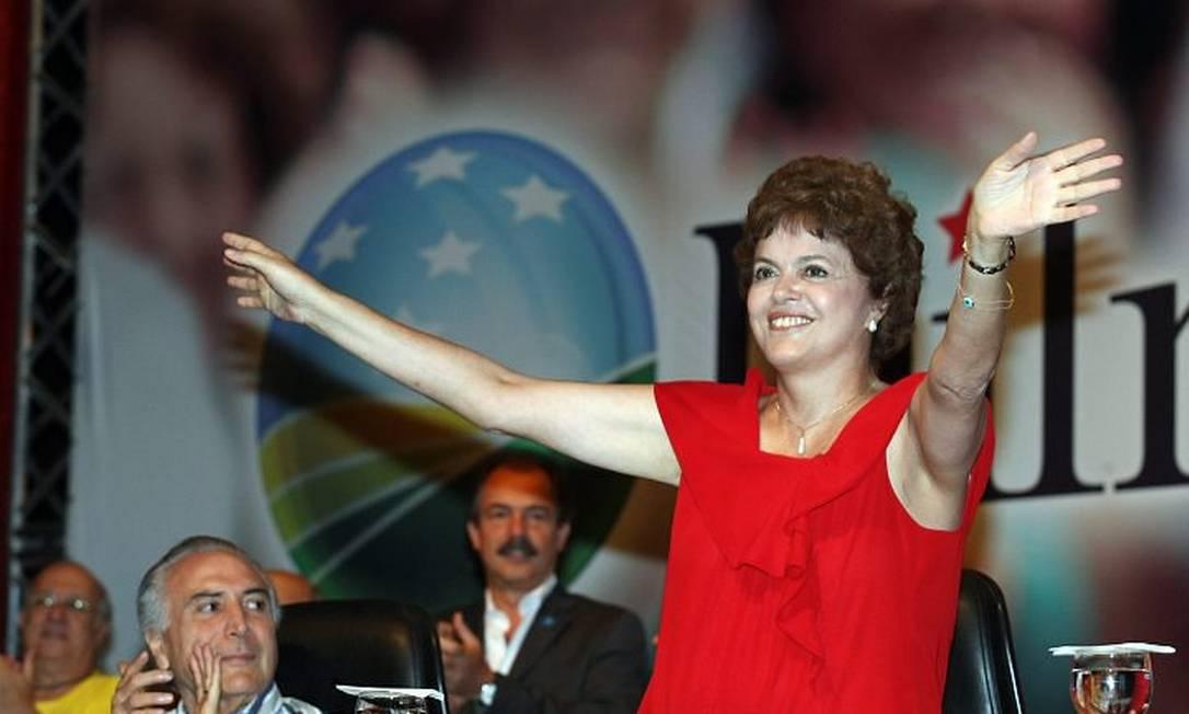 A ministra Dilma Rousseff discursa durante o lançamento de sua pré-candidatura - Ailton de Freitas