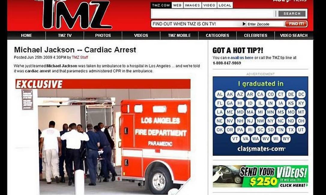 Michael Jackson chega ao hospital - site TMZ