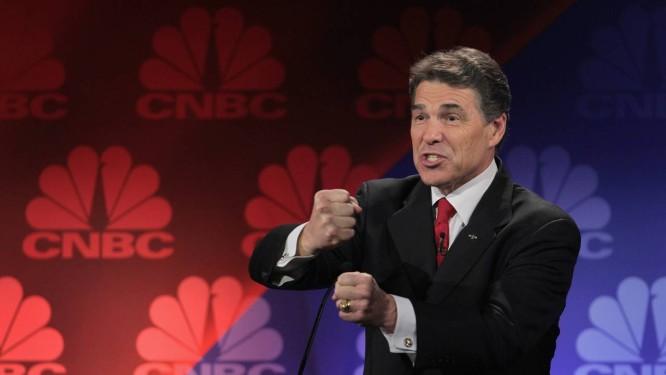 Perfomance fraca em debates pode prejudicar ainda mais a já criticada canditadura de Perry para as eleições presidenciais de 2012 Foto: SCOTT OLSON / AFP