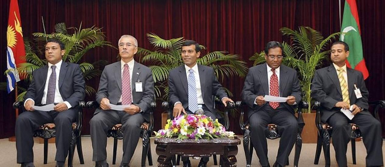 O presidente das Maldivas em reunião sobre o clima Foto: Reuters