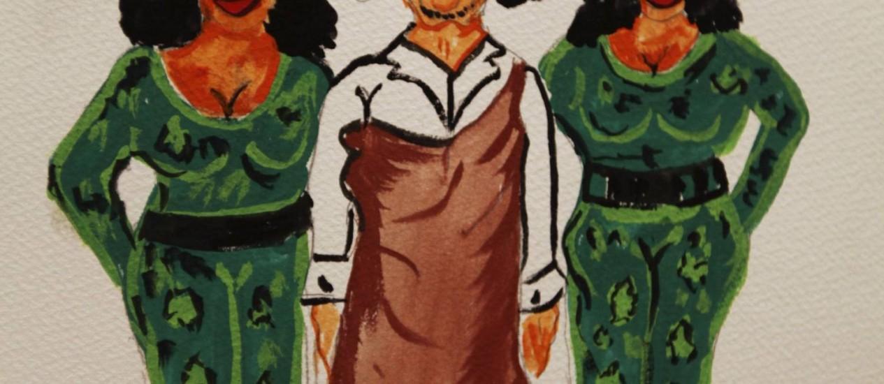 Caricatura retrata Muamar Kadafi com guarda-costas femininas, em exposição feita em Bengazi, em julho. Foto: REUTERS