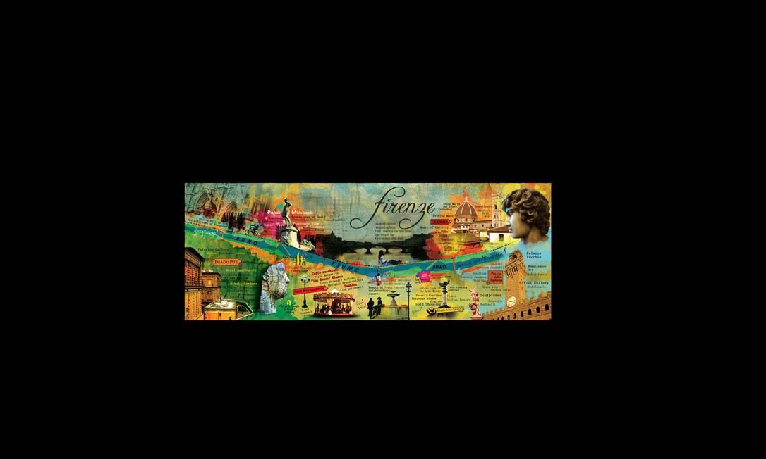 """O site They Draw &Travel (theydrawandtravel.com) reúne mapas ilustrados temáticos de vários artistas do mundo. Este, é do indiano Ranjini Chatterjee sobre a cidade italiana de Florença. """"O mapa de Florença está gravado no meu coração e na minha cabeça"""", descreveu Ranjini. Ranjini Chatterjee / Reprodução"""