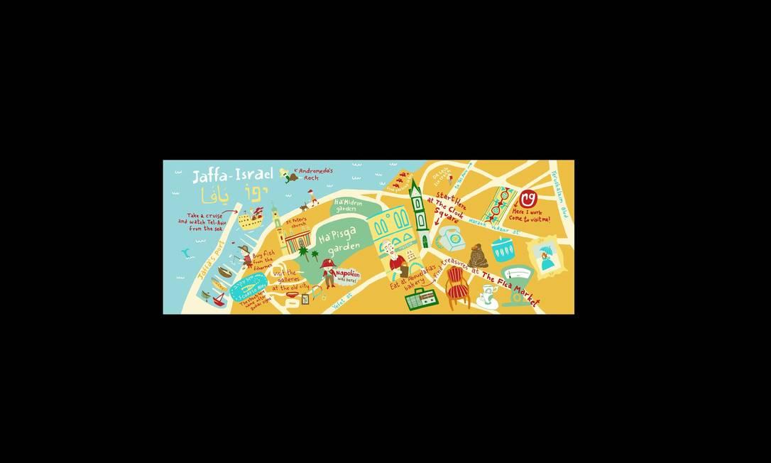 O mapa de Anat Sifri, de Israel, dá dicas do que fazer na cidade de Jaffa. O site They Draw & Travel tem mapas ilustrados de países dos cinco continentes, e qualquer ilustrador pode colaborar. Foi inspirado em outro sucesso: o They Draw & Cook. Anat Sifiri / Reprodução