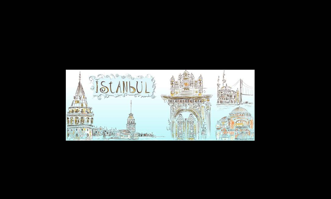 A Istambul do californiano Meltem Sozer mostra os principais templos da cidade turca no site They Draw & Travel. Meltem Sozer / Reprodução