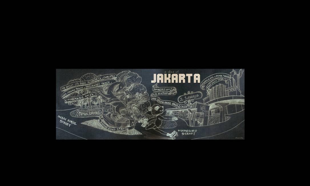 """O indonésio Anang Fajar Alam criou um mapa sobre a cidade onde mora, Jakarta. Dicas de onde comprar antiquidades, o melhor parque para piqueniques... Ele diz que é """"a melhor fatia"""" da cidade. Anang Fajar Alam / Reprodução"""