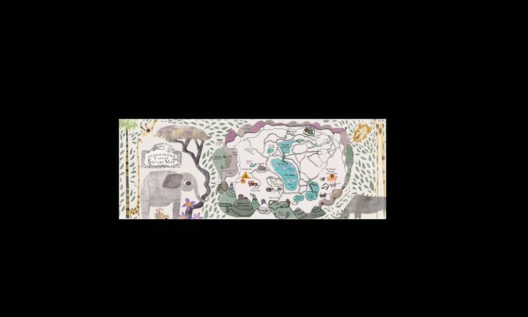 O mapa do ilustrador americano April Brantner mostra o roteiro de um safári por Ngorongoro Crater na Tanzânia. April Brantner / Reprodução