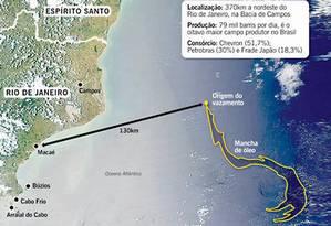 Local do vazamento da Chevron no Campo de Frade Foto: O Globo / O Globo