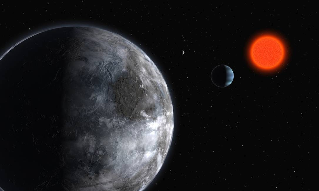 Ilustração mostra o sistema planetário da estrela Gliese 581: pela avaliação dos cientistas, o planeta Gliese 581g é um dos mais fortes candidatos a abrigar vida Foto: ESO