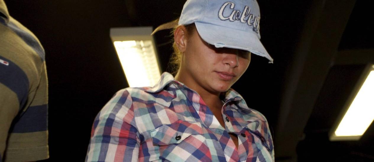 Danúbia Rangel, mulher do traficante Nem da Rocinha, é presa nesta sexta-feira Foto: Domingos Peixoto / Agência O Globo