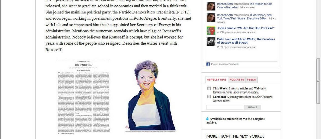 A revista 'The New Yorker' desta semana traz um perfil da presidente Dilma Rousseff Foto: Reprodução / The New Yorker