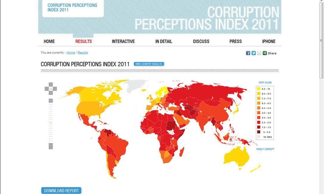 Mapa divulgado pela Transparência Internacional para ilustrar os diferentes níveis de percepção da corrupção, do amarelo (menos corrupto) ao vermelho (mais corrupto). Foto: Transparência Internacional / Divulgação