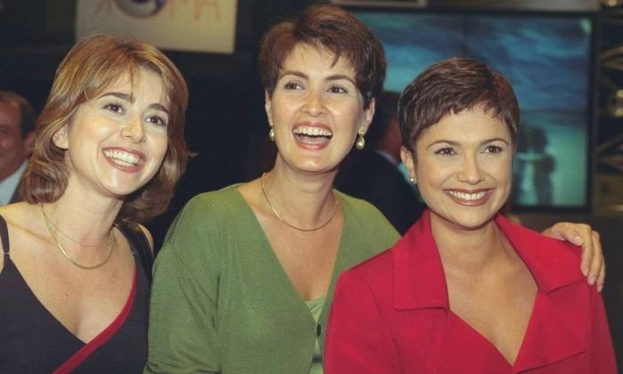 """Com Milena Ciribelli e Sandra Annemberg, em 1998. Fátima e Sandra trabalharam juntas no """"Fantástico"""" Ana Branco / Agência O Globo"""