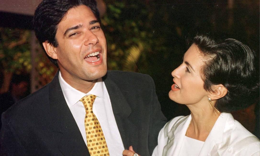 Em 1998, momento de descontração ao lado de William Bonner, Os dois se casaram em 1990 Arquivo
