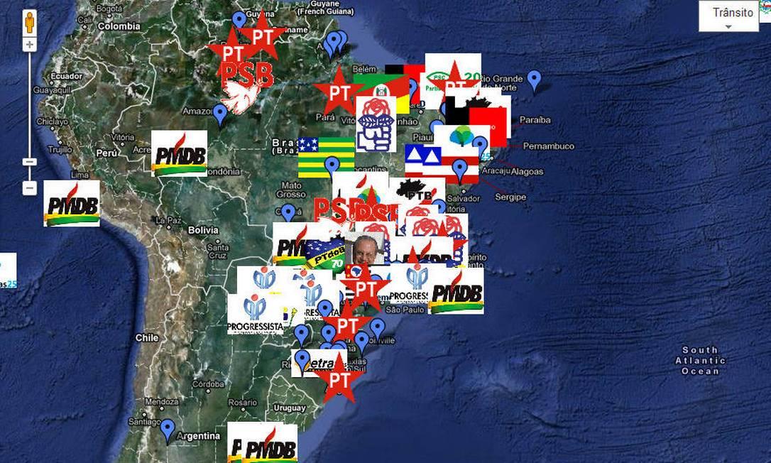 Site Mapa da Corrupção Brasileira tem cerca de 200 denúncias de malfeitos postados por internautas Foto: Reprodução