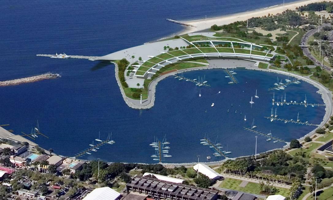 O projeto de revitalização da Marina da Glória proposto pelo grupo EBX Foto: Divulgação