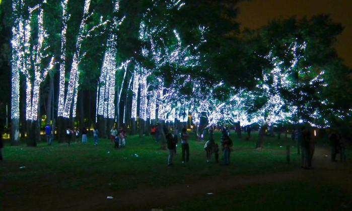 Também no parque, as árvores ganharam iluminação especial Foto do leitor Cláudio Amaral