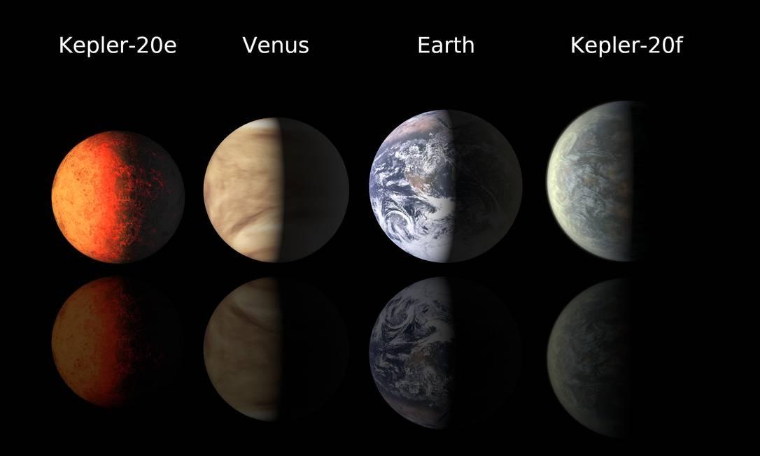 Os planetas Kepler-20e e Kepler-20f têm tamanho semelhante ao da Terra Foto: Divulgação/Nasa