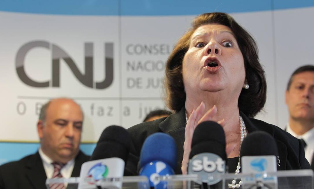 A ministra corregedora do CNJ, Eliana Calmon, durante entrevista coletiva, em Brasília Foto: Sérgio Marques / O Globo