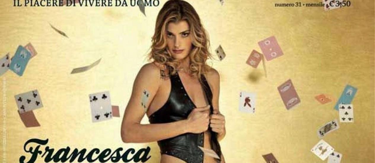 A capa da edição italiana da revista Playboy com a jogadora de vôlei Francesca Piccinini Foto: Reprodução da Internet